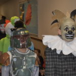 Several students in costumes