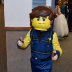 A student dressed as a lego figure