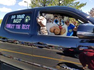 School mascot in parade