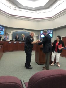 Police Cheif Receiving Award