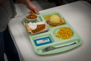 Thanksgiving meal on a school lunch tray