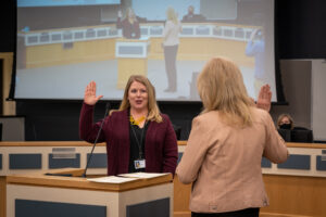 Niki George takes the oath of office