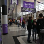 Students walking the hall of Riverton High School.