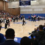 Students dancing in Bingham High Schools gym.