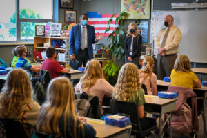 Elected officials talk with students