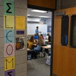 A welcome sign next to a teachers door