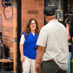 Robyn Luke talks to a reporter