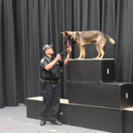 A police officer works with his K9 partner.