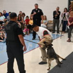 A police K9 officer demonstrates how they can take down a suspect.
