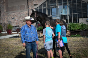Students pet a horse with it's handler looking on.