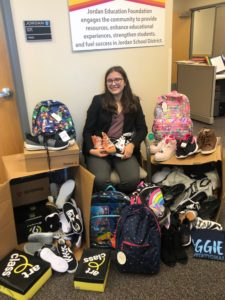 Picture of Natalie Smiley donating shoes