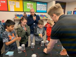 Students doing science experiment