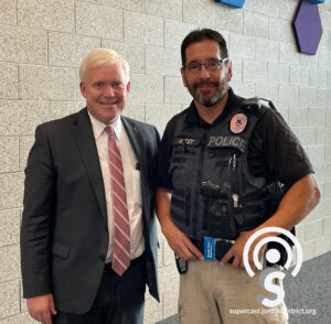 Dr. Godfrey poses for a photo with officer Mike Ashley