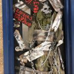 Halloween decorations on a door