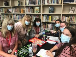 Teachers with medical masks