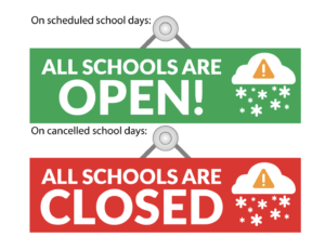 Images of School open and closed signs