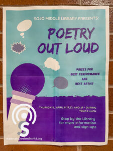 Poetry Out Loud poster on a wall