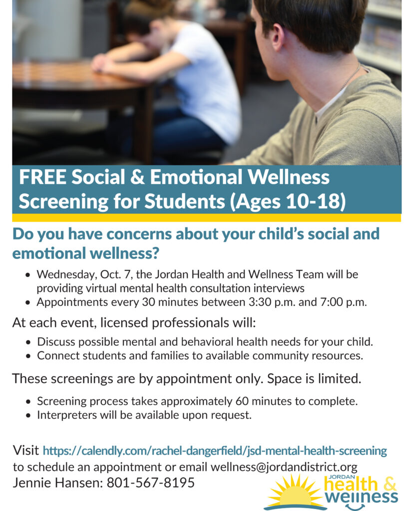 Flyer for Free Social and Emotional Wellness Screening