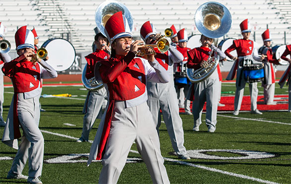 The band performs at the 40 yard line