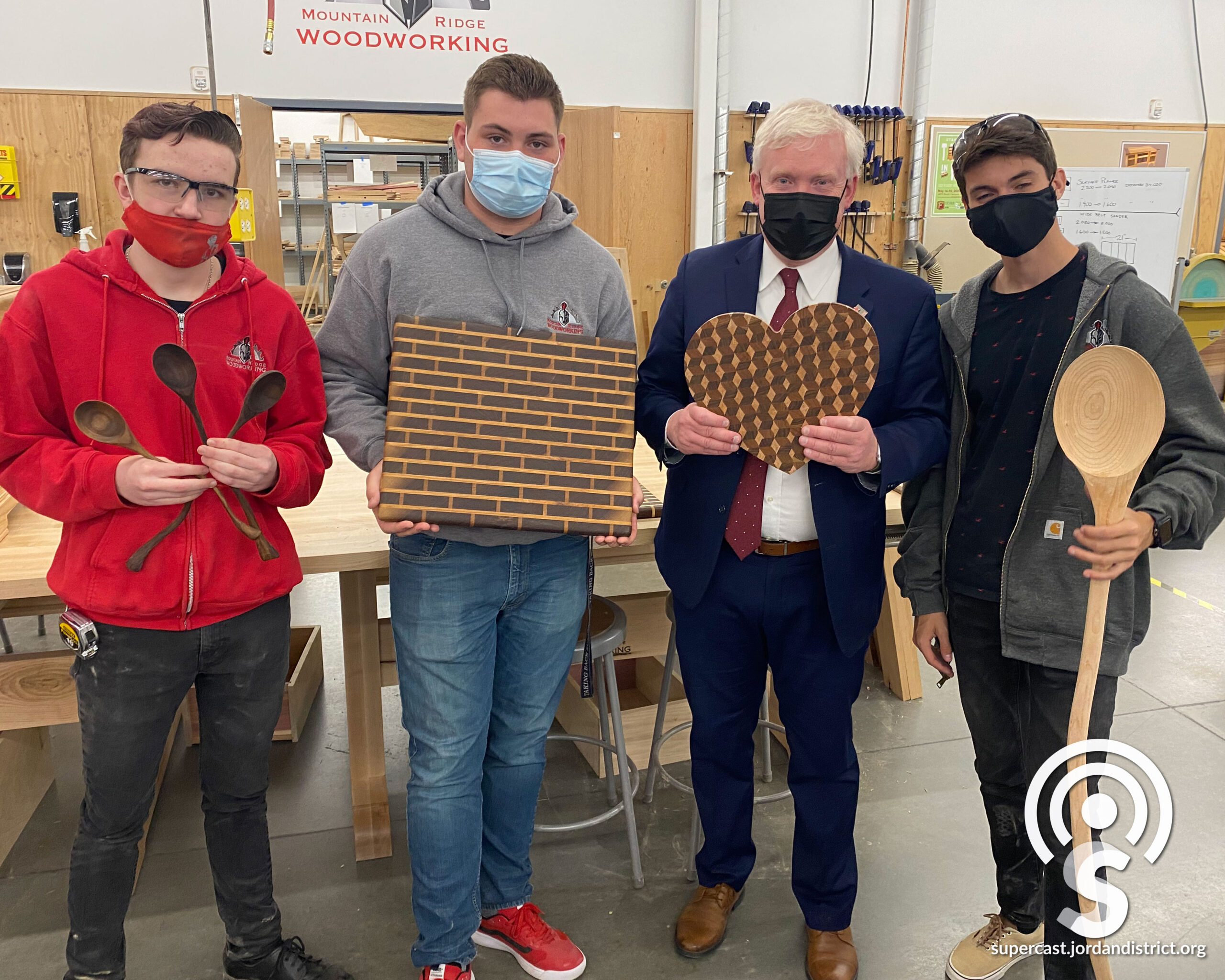 Students show off their wood projects