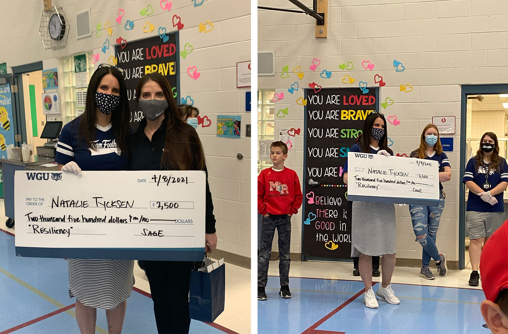 Natalie Tyksen Shows off the big check