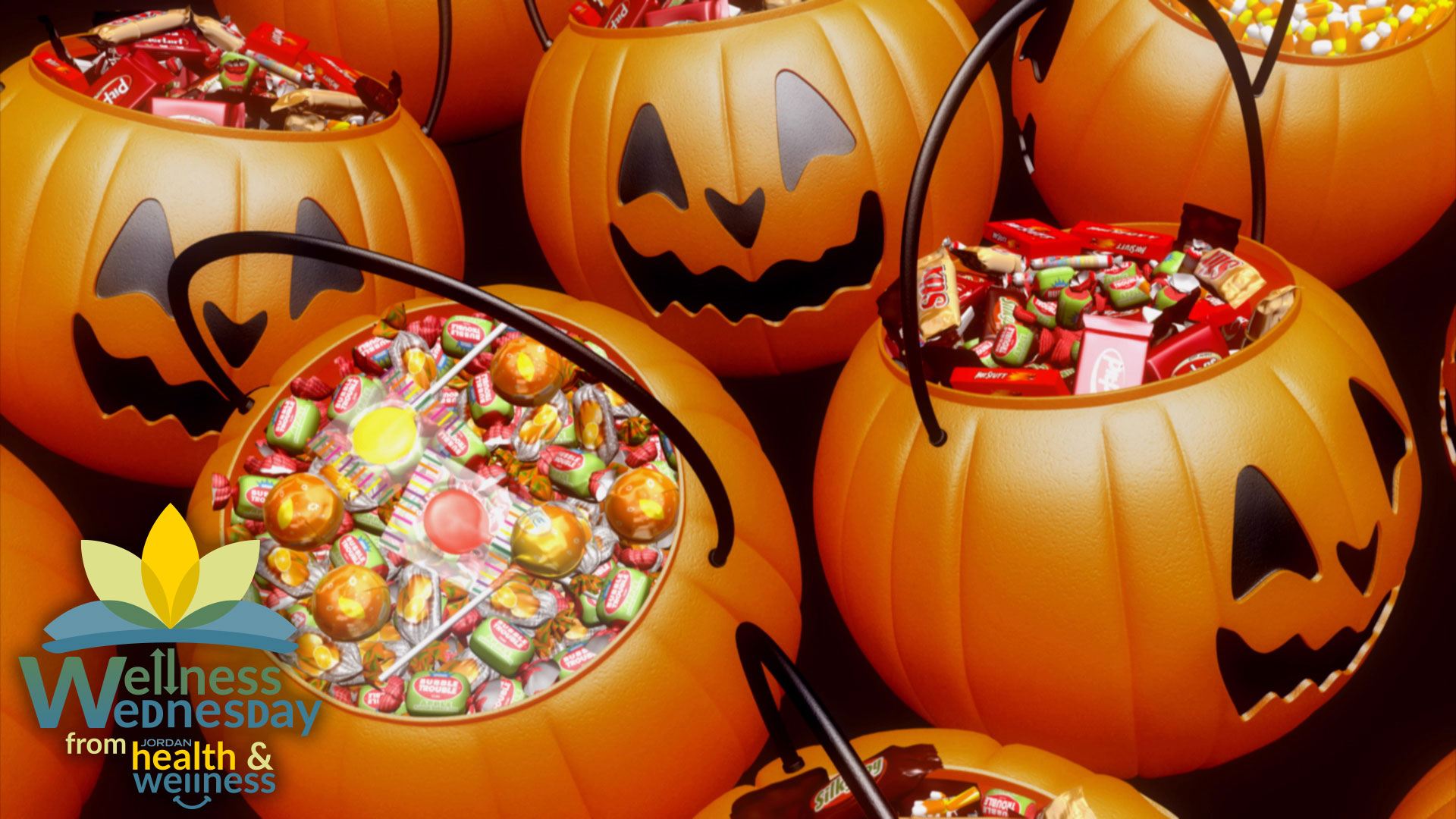 Jack-O-Lantern buckets filled with candy