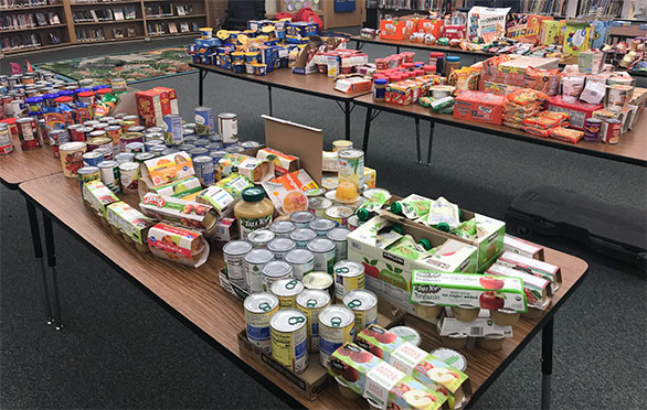 Tables with food donations